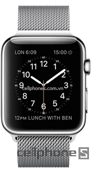 Apple Watch 42mm Stainless Case Steel with White Milanese Loop
