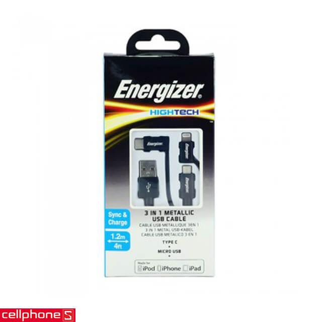 Cáp Energizer Hightech 3 in 1 Metallic USB 1.2 m C13UBX3CF