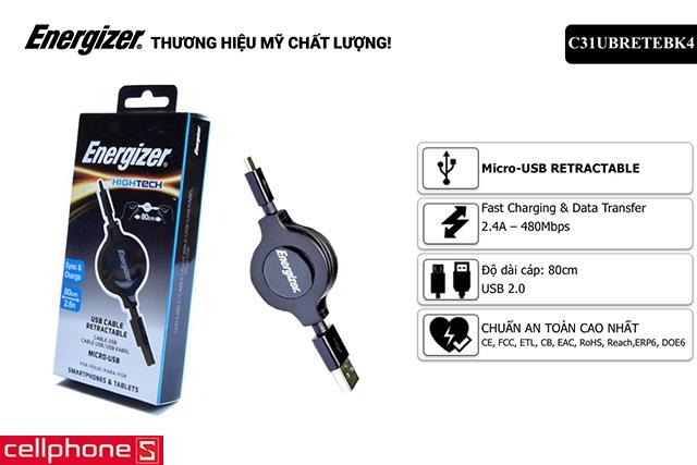 Cáp Energizer Hightech Micro USB 80 cm C31UBRETEBK4