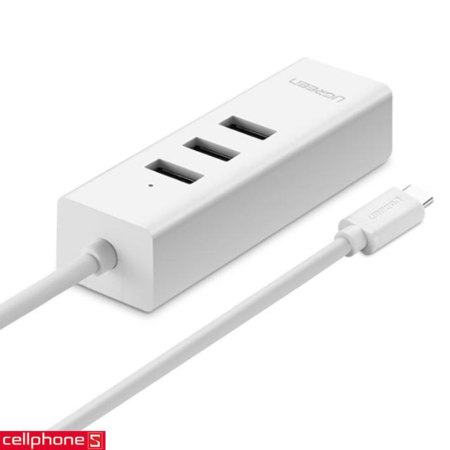 Cáp chuyển đổi UGREEN USB-C sang 3 Ports USB 2.0 & Ethernet