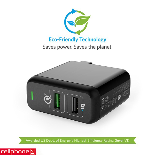 Sạc Anker PowerPort 2 hỗ trợ Quick Charge 3.0