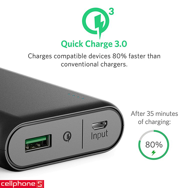 Pin dự phòng Anker PowerCore Speed 10000 hỗ trợ Quick Charge 3.0