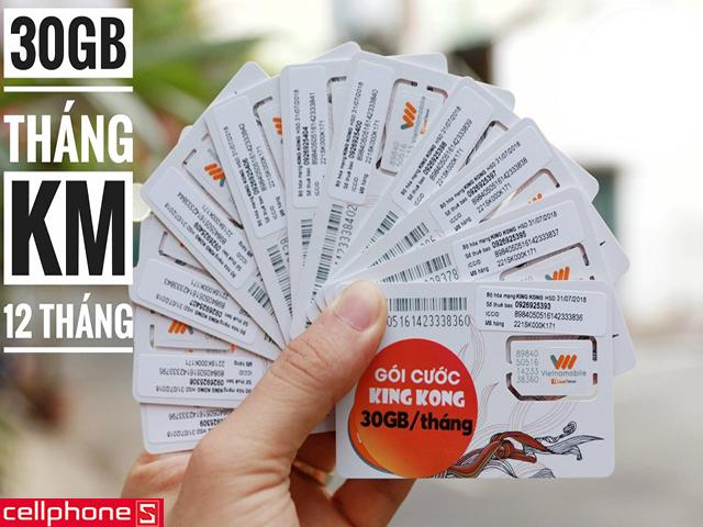 SIM 3G King Kong Vietnamobile 30GB/tháng
