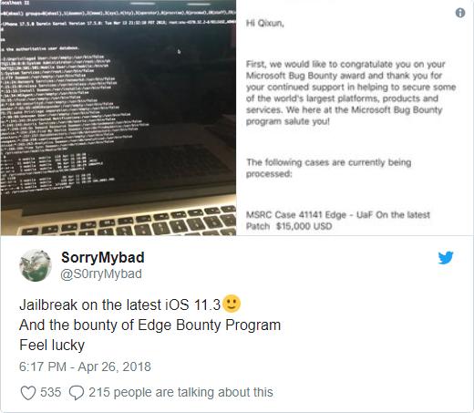Sforum - Trang thông tin công nghệ mới nhất JB11.3 iOS 11.3 đã được jailbreak thành công bởi hacker Trung Quốc
