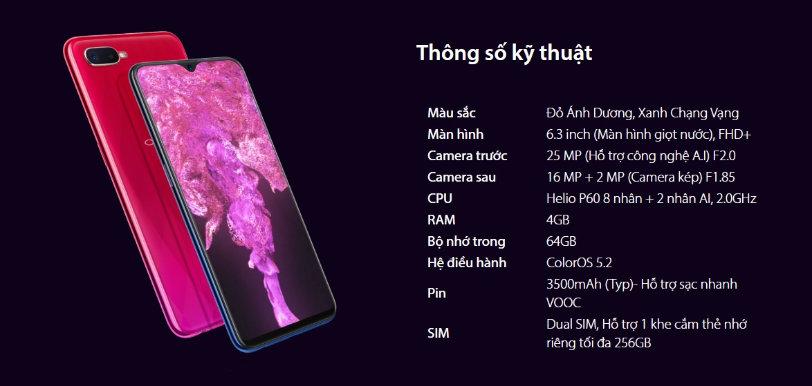 """Sforum - Trang thông tin công nghệ mới nhất specs OPPO F9 ra mắt: Màn hình """"giọt nước"""", camera kép, sạc nhanh VOOC siêu tốc, giá 7.69 triệu"""