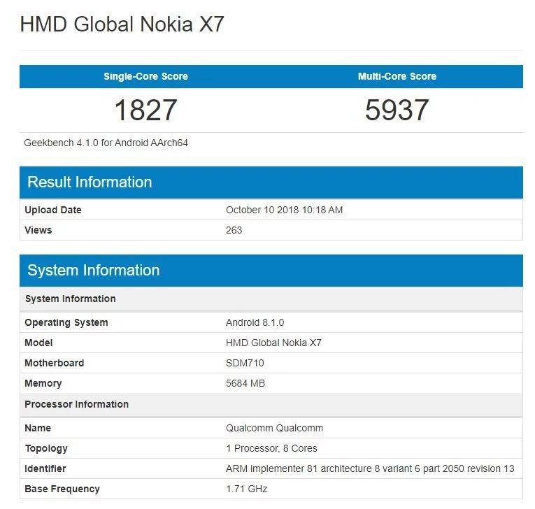 Sforum - Trang thông tin công nghệ mới nhất Nokia-X7-Geekbench Nokia X7 lộ điểm benchmark, xác nhận chạy Snapdragon 710 của Qualcomm