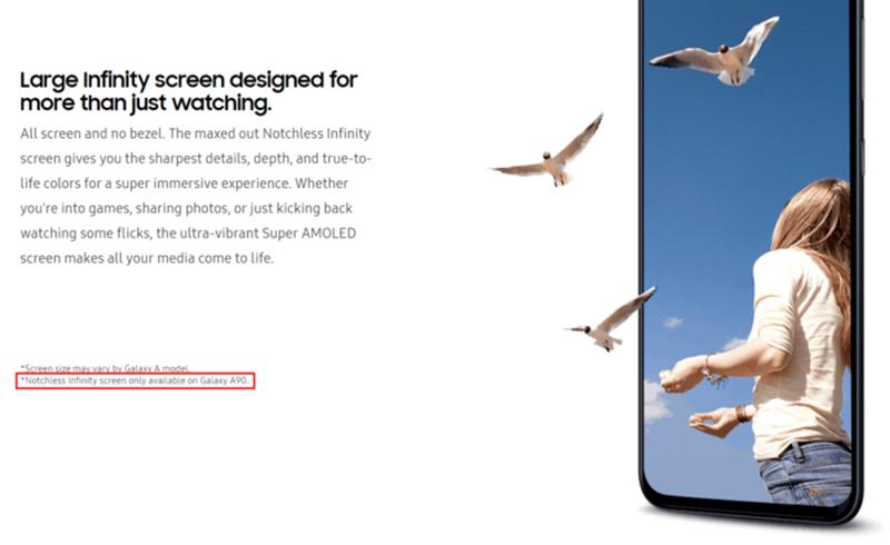 Sforum - Trang thông tin công nghệ mới nhất galaxy-a90-notchless-display-1 Galaxy A90 được xác nhận có màn hình Notchless Infinity trên trang web chính thức của Samsung