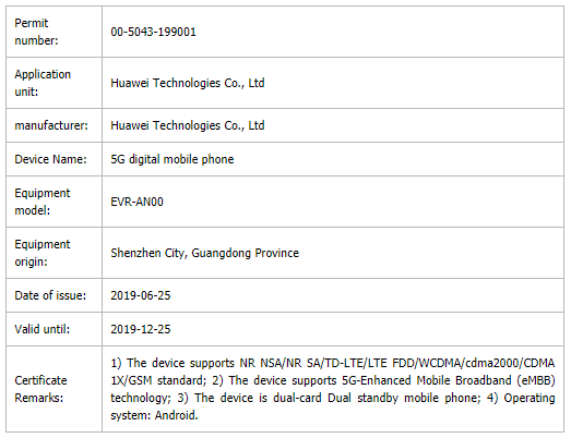 Sforum - Latest technology information page EVR-AN00-TENAA Huawei Mate 20X 5G version 2 certified sim in China, launched in the next few weeks