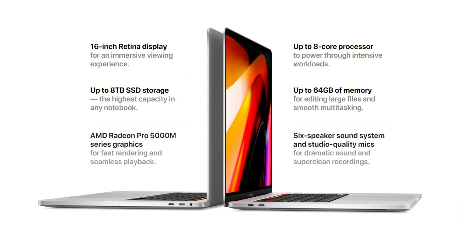 Sforum - Trang thông tin công nghệ mới nhất macbook-pro-16-inch-03 Tất tần tật về MacBook Pro 16 inch: Bàn phím mới, GPU 7nm, RAM 64GB, SSD 8TB, giá tới 140 triệu