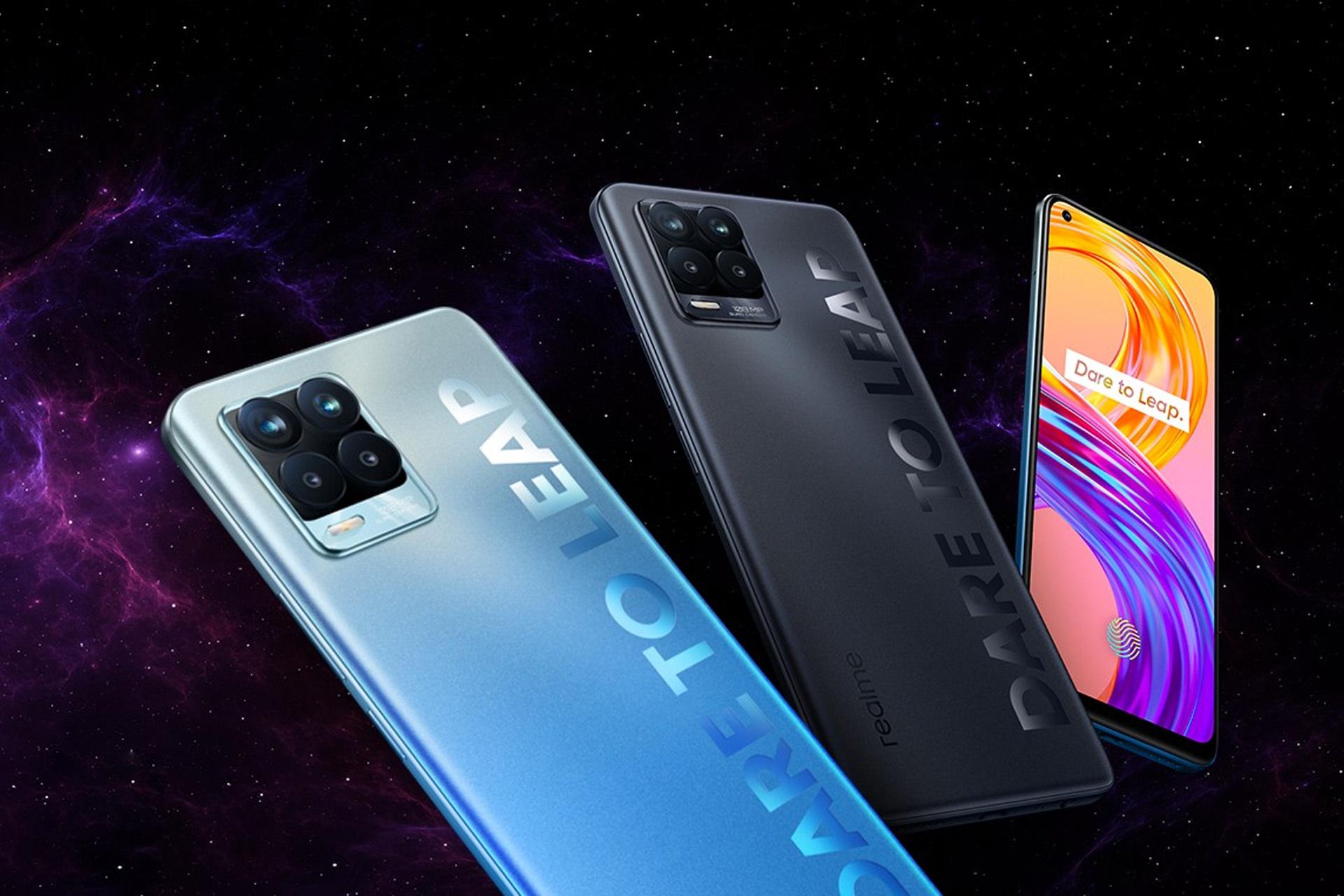 Sforum - Trang thông tin công nghệ mới nhất realme-8-series-phones-blue-black-render-graphic Realme 8 | 8 Pro chính thức ra mắt tại VN: Thiết kế trẻ trung nhiều màu sắc, màn hình Super AMOLED, camera 108MP, sạc nhanh 50W, lên kệ ngày 27/4